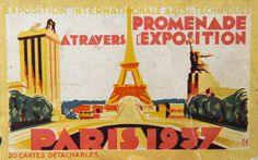 Paris 1937 - Cover of a booklet with 20 postcards inside.