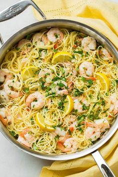 Lemon Parmesan Angel Hair Pasta with Shrimp from Cooking Classy