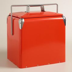 Cherry Red Retro Cooler at Cost Plus World Market >> #WorldMarket Camping ideas, tips, glamping, Outdoor Entertaining, Outdoor