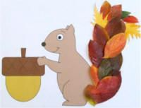 "We didn't use leaves for tail. The kids colored the squirrel and made the tail look bushy by painting w/ gray paint with a little spiky ball. Then they glued to larger paper and glued some fall leaves around it. I also cut off the huge acorn, and they used a real one from the yard. We used w/ the song, ""Gray Squirrel, Swish your Bushy Tail."""