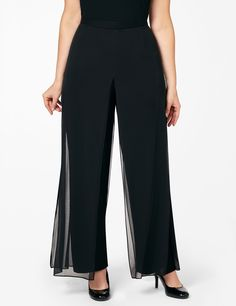 Floating On Air Pant   Catherines Our fun, sheer overlay pant gives the impression that you are floating across the room. These solid, stretch pants fit your shape comfortably with their elastic waist. Sheer fabric panels cascade over top for an elegant look. Flat front, elastic back. Catherines pants are specifically designed with the plus size woman in mind. #catherines #plussizefashion #bestdressed