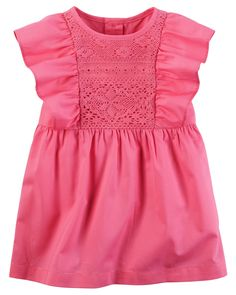 Baby Girl Ruffle-Sleeve Poplin Dress | Carters.com
