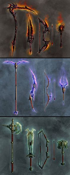 Elemental weapons by wildforge fire ice cold electricity force battleaxe sword bow arrow hammer mace create your own roleplaying game books w rpg bard www rpgbard com dungeons and dragons pathfinder rpg warhammer fantasy star wars exalted world of dark Armas Ninja, Sword Design, Fantasy Armor, Fantasy Star, Weapon Concept Art, Fantasy Kunst, Dungeons And Dragons, Katana, Chibi