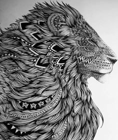 What is Zentangle? One of the beauties of Zentangle Art is it requires basically no skill or excessive effort. Instructions on how to draw Zentangle Patterns step by step:… Lion Tattoo Design, Lion Design, Tattoo Designs, Design Tattoos, Design Design, Literary Tattoos, Oeuvre D'art, Lions, Amazing Art