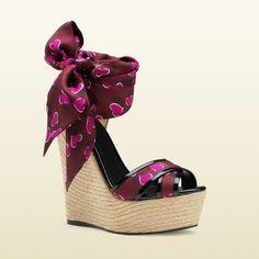 Gucci Carolina Heartbeat Satin Tie Wedge Sandal