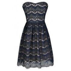 Navy Lace Dress, Cute Lace Dress, Navy Lace Strapless Dress, Navy Lace A-Line Dress, Navy Lace Party Dress, Navy Lace Bridesmaid Dress, Navy Bridesmaid Dress