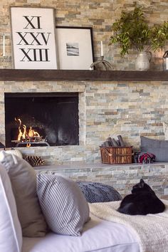 Very similar to my own fireplace in St. Joe, stacked stone and off center to the left except I have stone ledges instead of a mantel. Trying to decide if I want black glass doors or a deep bronze color.