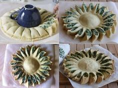 Spinach ricotta or feta sunflower pastry. Spinach Ricotta Pie, Diner Spectacle, Pie Recipes, Cooking Recipes, Good Food, Yummy Food, Savoury Baking, Food Humor, Creative Food