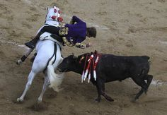 Spanish rejoneador (bullfighter on horseback) Pablo Hermoso de Mendoza performs with a bull during a bullfighting festival at Canaveralejo bullring in Cali. E Image, International Festival, Mendoza, Cali, Festivals, Badass, Photo Galleries, Spanish, Horses