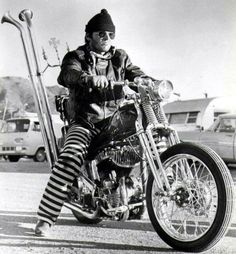 "Jack Nicholson on a '45 Flathead Harley Bobber (with Springer forks) in ""Rebel Rousers"" or jail pants"