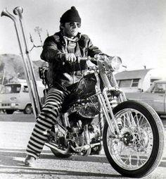 "Jack Nicholson on a '45 Flathead Harley Bobber (with Springer forks) in ""Rebel Rousers""."
