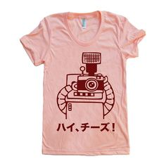 Say Cheese - Hai Cheezu - Japanese Robot Photographer - Ladies Apricot T-shirt by Late Greats, via Flickr