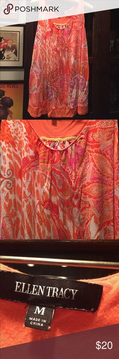 Ellen  Tracy summer top Ellen Tracy summer top beautiful orange paisley Ellen Tracy Tops Camisoles