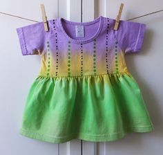 Size 18 month Smock Dress in an amethyst, sun yellow and apple green ombre, stamped with a black and green pattern. An adorable and very on-trend