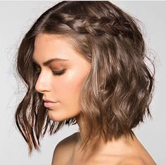 Braid for Short Wavy Hair. Now that I've chopped all my hair off, I wonder if I can pull this hairstyle off. Good Hair Day, Great Hair, Bridesmaid Hair, Bridesmaids, Hair Today, Hair Dos, Pretty Hairstyles, Hairstyle Ideas, Crimped Hairstyles