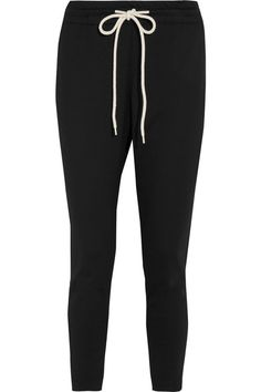 Bassike - Cropped Cotton-blend Jersey Track Pants - Black - 0