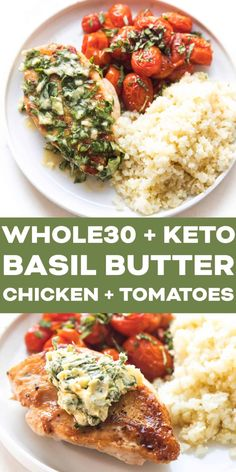 Keto Skillet Chicken   Tomatoes with Basil Butter Recipe   Video - 3 carbs! A low carb chicken dinner with blistered tomatoes and a lemon basil butter. Made on your grill or in the oven. Paleo, gluten free, grain free, dairy free, sugar free, clean eating, real food. #keto #lowcarb #whole30 #chicken Chicken Basil Recipes, Chicken Recipes With Tomatoes, Chicken With Basil, Dairy Free Recipes, Paleo Recipes, Real Food Recipes, Gluten Free, Skillet Chicken, Butter Chicken