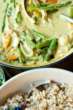 Chicken Curry {with Asparagus} on Brown Rice | ReluctantEntertainer.com