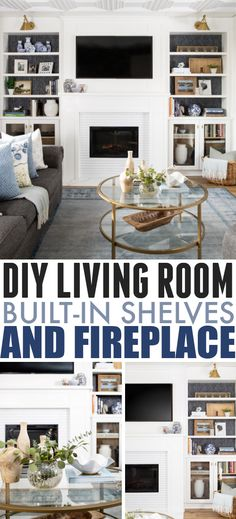 DIY Living Room Built-In Shelves and Fireplace | The Creek Line House