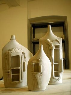 Clay over detergent bottles, this is air dry clay or paper clay ~~~ could joint compound possibly work? Much cheaper option