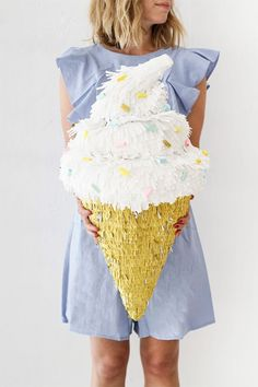 Soft Serve Ice Cream Cone Piñata DIY