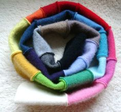 RAINBOW Cashmere Scarf Upcycled Patchwork Eco Fashion Rainbow Scarf / Infinity Scarf by WormeWoole