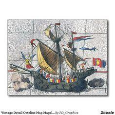 Vintage Detail Ortelius Map Magellan Ship Victoria Postcard