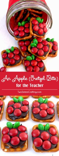 If you are looking for a very easy to make DIY Teacher Appreciation Gift or end of the year Teacher Gift try Apple Pretzel Bites - sweet, salty and delicious. Pin this fun and easy Homemade Teacher Gift for later and follow us for more great Pretzel Bite ideas.