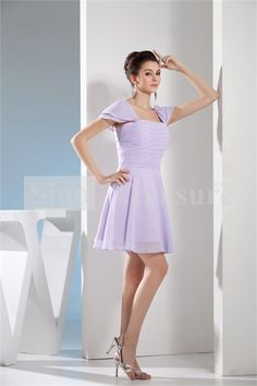 Pale Purple Short/ Mini Chiffon/ Silk-like Satin Portrait Ruffle Bridesmaid Dresses