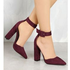 Lolashoetique!!! Sexy Wine Heels With Ankle Strap!