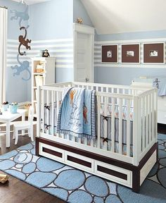 Picture frames with thick accent colors    Drawers under crib  Thick padded rug under crib and changing table.