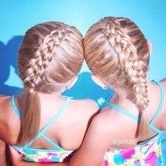 Reposting these 5 strand Dutch braids from last summer! I can't believe how much their hair has grown! 💕 #twinshair #cutegirlshairstyles #hairinspiration #Dutch5StrandBraid #30daysnewbraids #summerhair