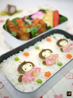 Japanese Three Hina Dolls Bento Lunch  © goma さんの弁当 - My kids are gonna be 40 by the time I get around to making something like this!