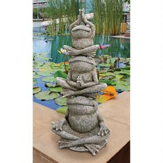 Meditative Yoga Power Frog Trio Sculpture. Home Yard & Garden Statue Products