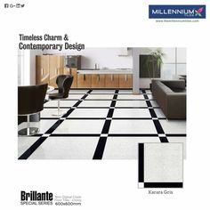"""Who said the #floor can't be #black and #white? Grab this stylish """"design of Millennium Tiles and add a hint of class and grandness to your #home.  Karara Gris - Millennium Tiles 600x600mm (24x24) Brilliante Non Digital Special Ceramic #Tiles"""
