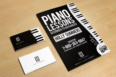 Your personal branding doesn't have to be complicated. Take this piano teacher's black and white on business cards, flyers and posters can stand out even with minimal details.