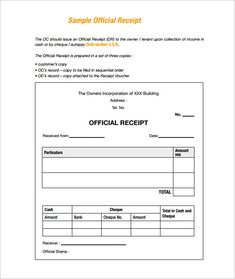 Sample Receipt , Receipt Template Doc For Word Documents In Different Types  You Can Use ,  Formal Receipt Template