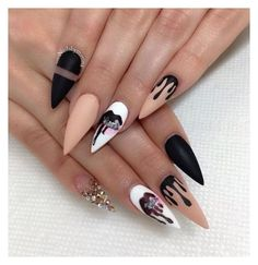 """NEEDS i might get my nails done like this but not so sharp"" by itsmaria12 ❤ liked on Polyvore"