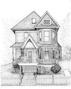 Renderings/drawings of bungalows, two-flats, six-flats, Chicago-style residential architecture in pen and ink, greystones illustrated and Victorian cottages Interior Architecture Drawing, Architecture Drawing Sketchbooks, Residential Architecture, Victorian Architecture, Architecture Design, Building Sketch, Building Drawing, House Sketch, House Drawing