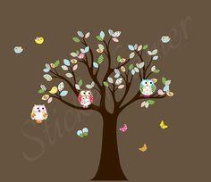 Muursticker babykamer boom met uiltjes en vogeltjes