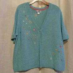 C J banks knit top Short sleeve knit top with embellishments Christopher & Banks Tops