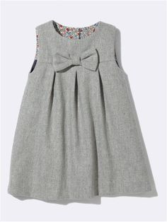 BABIES' FLANNELETTE DRESS WITH LIBERTY® PRINT LINING RASPBERRY+GREY FLANNEL