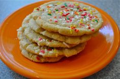 This vegan cookie is the Mrs. Field's-esque crunchy on the edge, chewy in the middle, rainbow jimmie laden kind of sugar cookie.