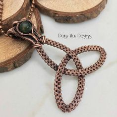 #342 - Celtic Trinity Knot / Jade - copper #wire #wrapped #pendant #necklace #jewelry @MMCDaisyMay
