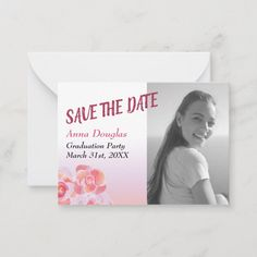 Shop Peach and Pink Rose Graduation Save-the-Date Advice Card created by BlissfullArt. Pink Graduation Party, Graduation Flowers, Graduation Party Invitations, Advice For The Graduate, Wedding Advice Cards, Flower Invitation, Watercolor Rose, Paper Texture, Save The Date