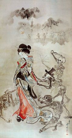 Skeletons pulling the sleeve of a beauty by  Kyosai Kawanabe