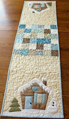 Winter Table Runner Pattern, Christmas Table Runner, Farmhouse Christmas Decor, Quilt Table Runner P Small Quilts, Mini Quilts, Lap Quilts, Quilt Block Patterns, Quilt Blocks, Rug Patterns, Hexagon Quilt, Tatting Patterns, Christmas Runner