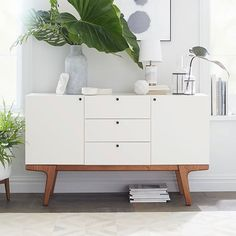 West Elm Dumont buffet / media console, pecan / white – Sideboards – Cupboards – Living and dining room furniture Modern Buffet Decor, Modern Buffet, Furniture, Apartment Decor, Small House Furniture, Modern Buffet Table, Buffet Decor, Home Decor, Mid Century Modern Sideboard
