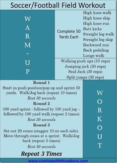 Soccer-Football Field Workouts - Looks like a good one to do while the kids are at soccer practice!