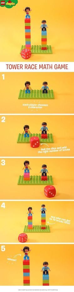 This simple math game is a great fun way to help kids learn to count., simple math game is a great fun way to help kids learn to count. You'll need some LEGO DUPLO bricks, two characters, a small baseboard, and a l. Lego Activities, Math Games, Preschool Math, Kindergarten Math, Math For Kids, Fun Math, Kids Class, Learn To Count, Simple Math